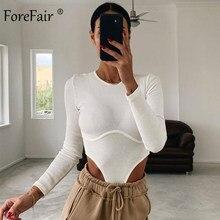 Forefair com nervuras manga longa bodysuit corte alto pescoço fino casual malha básica sexy cinza inverno feminino corpo corset topo