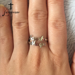 Letdiffery Custom Double Name Rings Stainless Steel Adjustable Personlized Women Rings Unique Jewelry Wedding Rings girl Gift