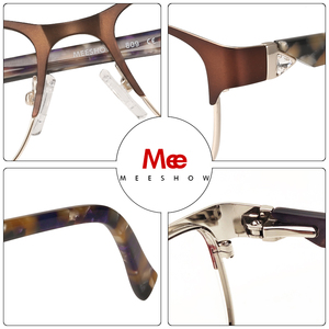 Image 4 - MEESHOW Оправа очков из титанового сплава женские очки Стразы для глаз очки для близорукости очки для зрения оправа 809