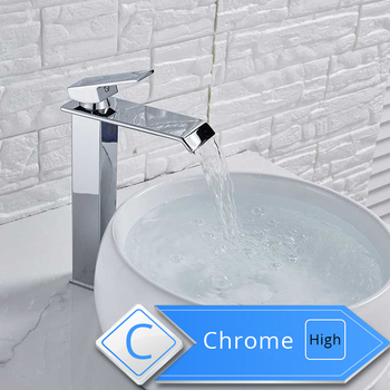 Rozin Waterfall Bathroom Sink Faucet Deck Mount Hot Cold Water Basin Mixer Taps Polished Chrome Lavatory Sink Tap 8