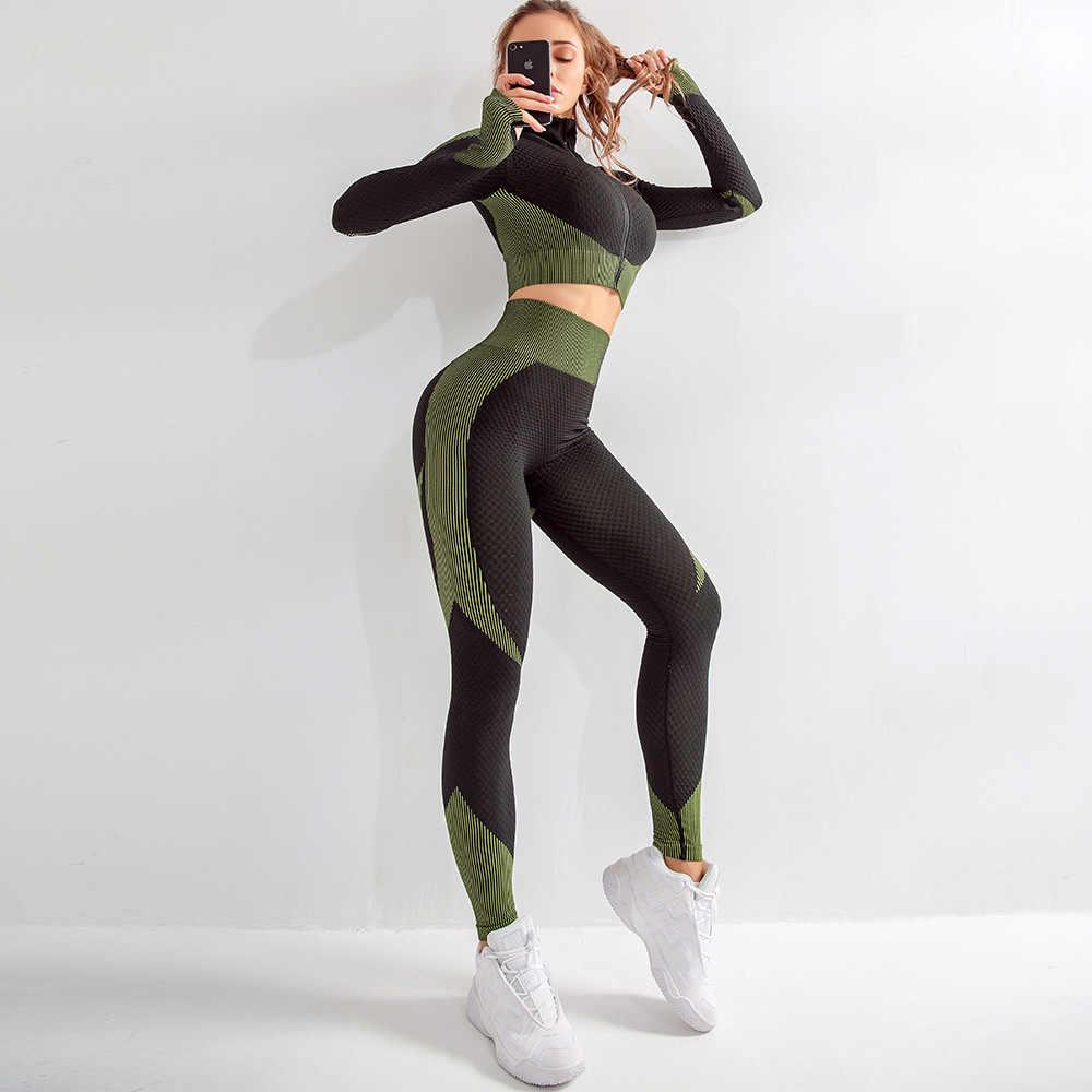 Mulheres manga longa conjunto de yoga zíper esporte superior terno sem costura roupa de treino para a mulher treino roupas de ginástica esportiva, zf287