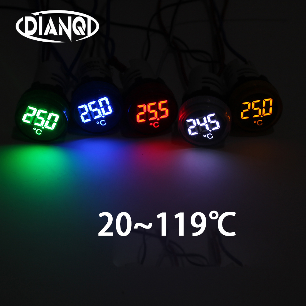 22mm LED 20-119 Celsius digital thermometer indicatro 50-380V Blue Green Yellow White Red with LED light indicator