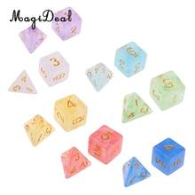 7 pçs/set polyhedral nebulosa jogo de dados acrílico d4 d6 d8 d20 d & d trpg mesa papel tabuleiro jogo entretenimento festa jogo da família