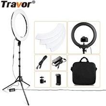 Travor Anillo de luz con trípode para estudio de fotografía, Anillo de luz LED, 18 pulgadas, soporte para teléfono, YouTube, maquillaje