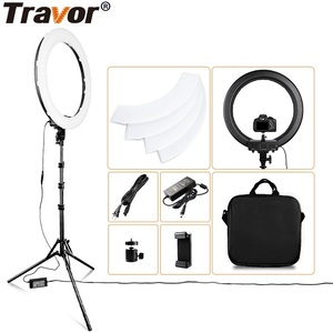 Image 1 - Travor LED Ring Light 18 Inch Ring Lamp Photo light ring With Tripod Phone holder for YouTube makeup Studio photography ringligt