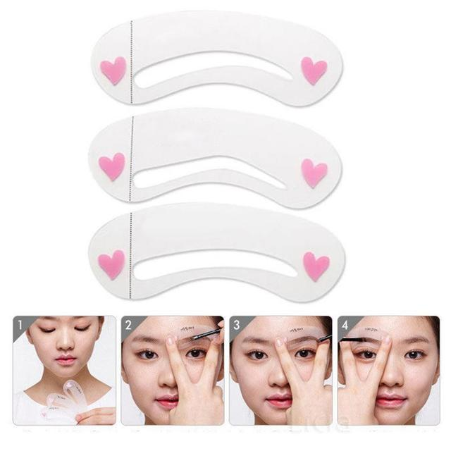 2019 fashion 3Pcs Reusable Eyebrow Drawing Guide Card Assistant Template Brow Makeup Stencil  Easy to Use  Convenient  Reusable