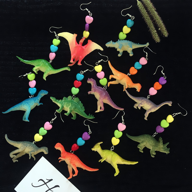New 8090s Harajuku Cute Heart Dinosaur Dangle Drop Earring For Cool Girl Party Jewelry Gifts Vintage Exclusive Designs For Women