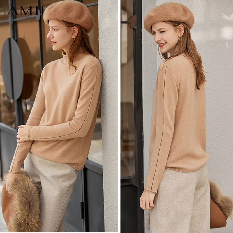 Amii Minimalist Knitted Sweater Winter Women Casual Solid Slim Fit Long Sleeve Elegant Female Pullover Sweater 11940799