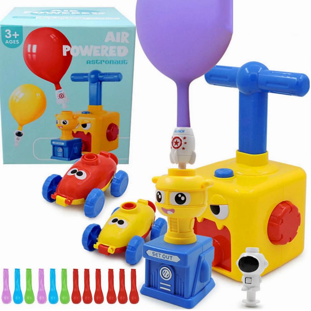 Fun Education Inertia Dinosaur Power Balloon Car Air Power Balloon Launch Tower Toy Science Experimen Toy for Children Gift