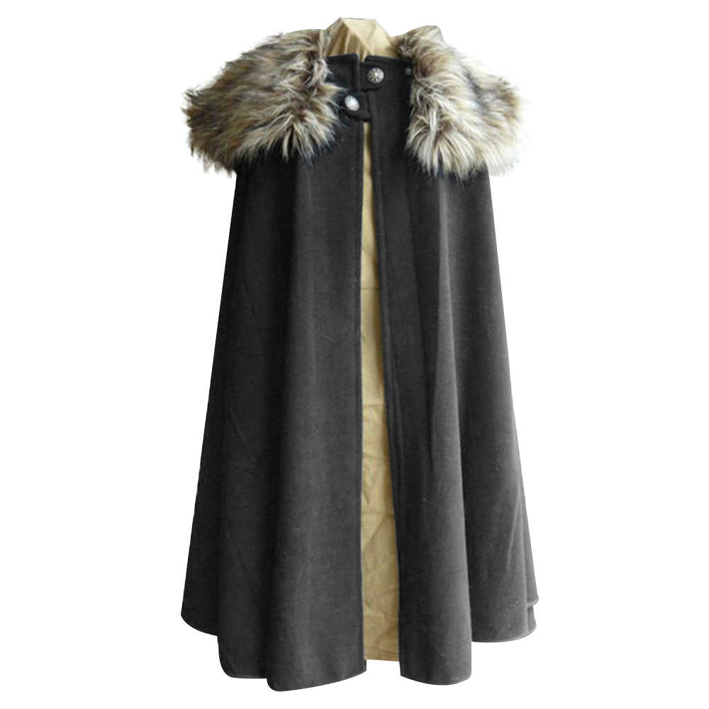 Game Of Thrones Abad Pertengahan Musim Dingin Pria Viking Cape Coat Ranger Mantel Gaya Gothic Bulu Kerah Cape Jubah Jon Snow kostum