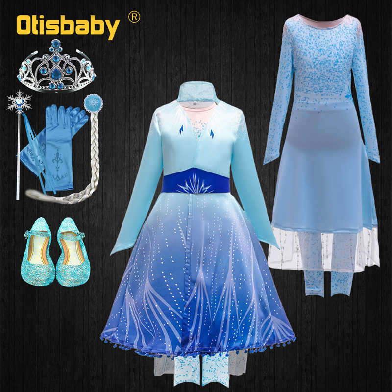 Halloween Christmas New Year Costume Snow Queen 2 Girls Elsa Dress Leggings Coat Clothing Set Winter Long Sleeve Elza Dress Up