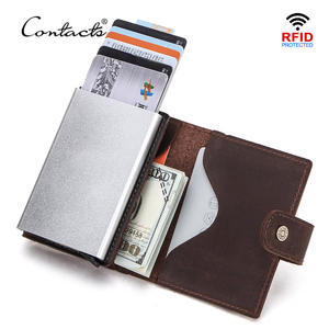 Wallet Men Card-Holder Coin-Purse CONTACT'S Aluminium-Box Rfid Blocking Crazy-Horse Automatic
