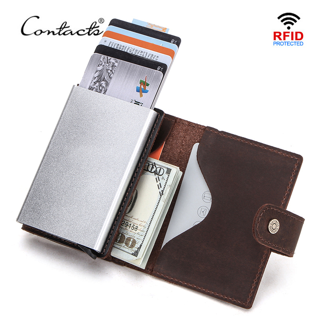 CONTACTS Crazy Horse Leather Card Holder Wallet Men Automatic Pop Up ID Card Case Male Coin Purse Aluminium Box RFID Blocking