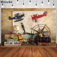 Mocsicka Vintage Alrplane Hangar Reise Kuchen Zerschlagen Fotografie Kulissen Junge 1st Geburtstag Foto Requisiten Studio Booth Hintergrund