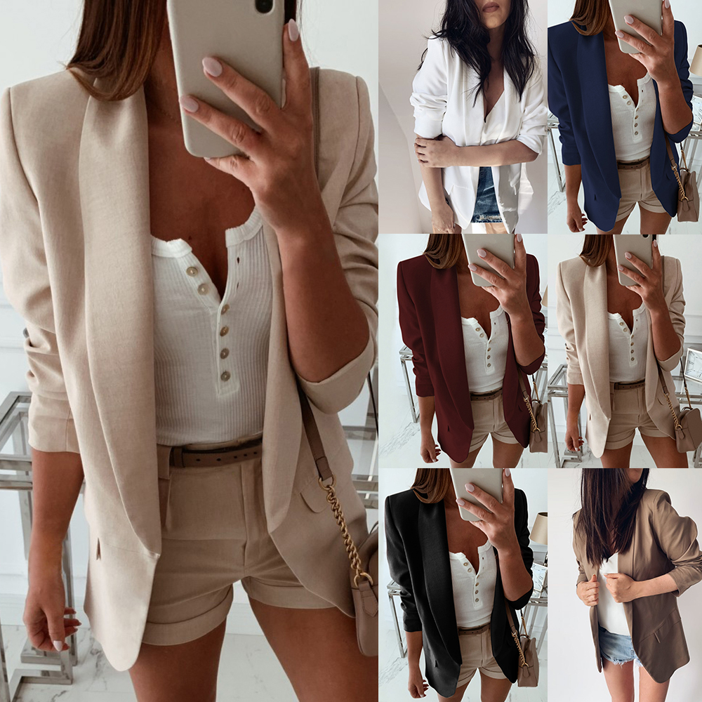 Women Turn Down Collar Suit Jacket Autumn Solid Lapel Slim Fit Coat Jacket Ladies Business Office Coat Cardigan Outerwear Tops