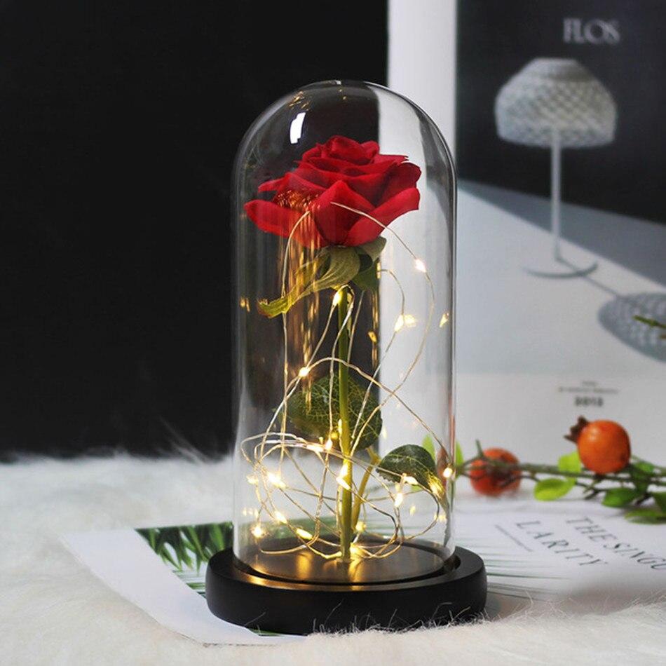 Красота и с рисунком из мультфильма «Красавица и Чудовище» в виде красных роз с яркие светодиодные светильник в Стекло купол для Свадебная вечеринка, подарок на день Святого Валентина, подарок на день матери - Цвет: Black red