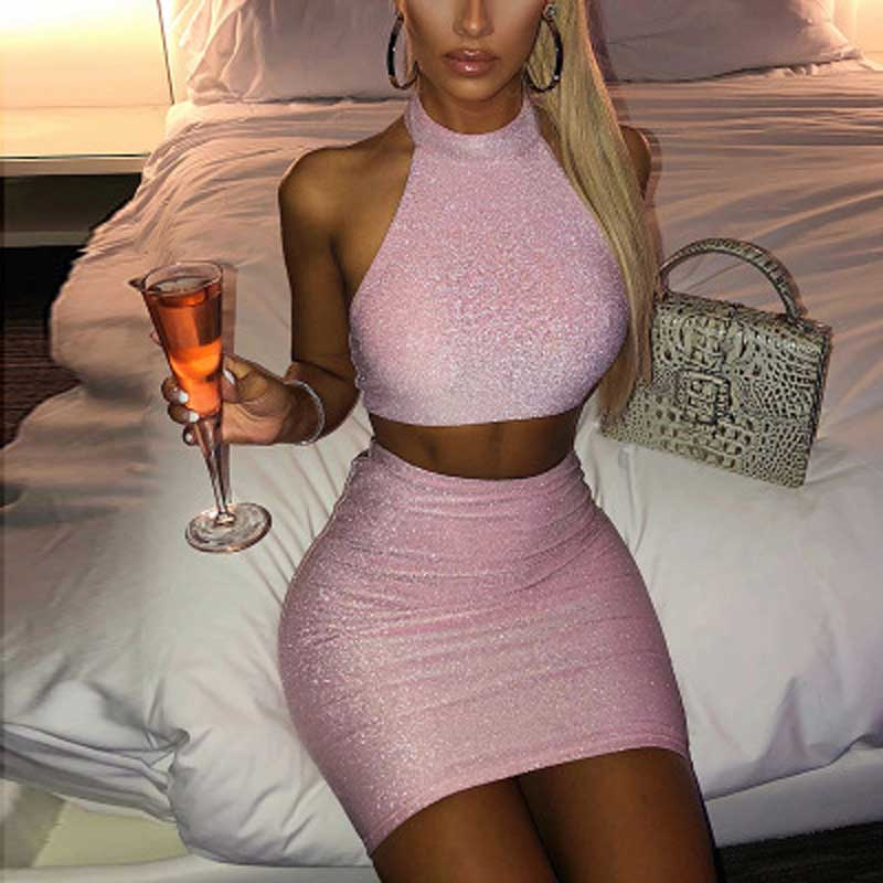 Summer Pink Sequined Sexy Two Piece Midi Skirt Set Women Backless Short Tops And Skirt Set Party Club 2 Pieces Set Women Outfits