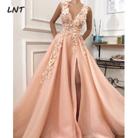 V Neck Peach Evening Dresses with Flowers Long Formal Occasion Dress with Slit Custom
