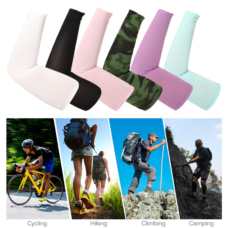 Men Women Arm Solid Sleeve Warmer Cotton Fingerless Gloves Cuff Sun Hand Protect Anti-UV Running Golf Driving Cycling Arm Sleeve
