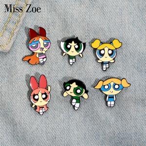 Police Girls Enamel Pin Cartoon TV Series Character Lapel Pins Badge Button pin for Shirt coat Bag Red Yellow Green Brooch Gift