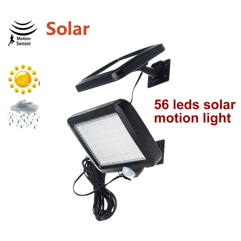 56 Leds 5M Cable Motion Sensor Solar Garden Light Solar Lamps Split Mount Solar Wall Street Spot Garden Path Outdoor For Garage