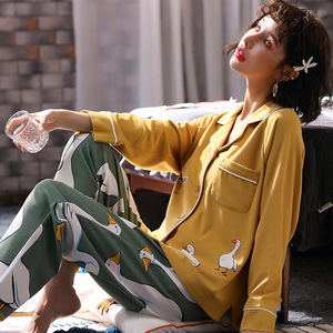 Image 3 - 2019 yeni pamuk pijama sonbahar kış baskılı gecelikler seksi yeşil pijama pijama takım elbise rahat uyku seti sevimli karikatür ev tekstili