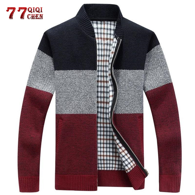 Autumn Winter Warm Sweaters Men Casual Slim Patchwork Knitted Cardigan Cashmere Coat Sueter Masculino Sweatercoat Sweater Jacket