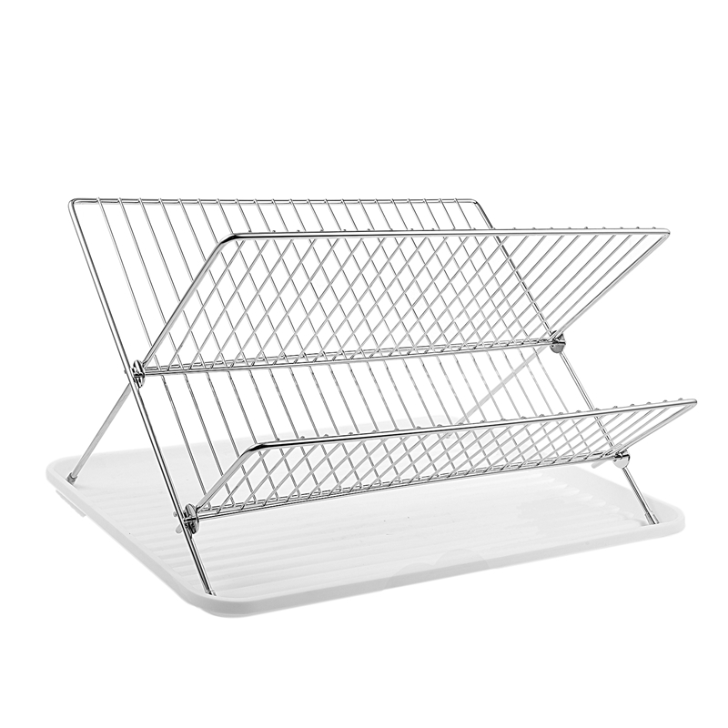 Deluxe Chrome Plated Steel Foldable X Shape 2 Tier Shelf Small Dish Drainers with Drainboard|Racks & Holders| |  - title=