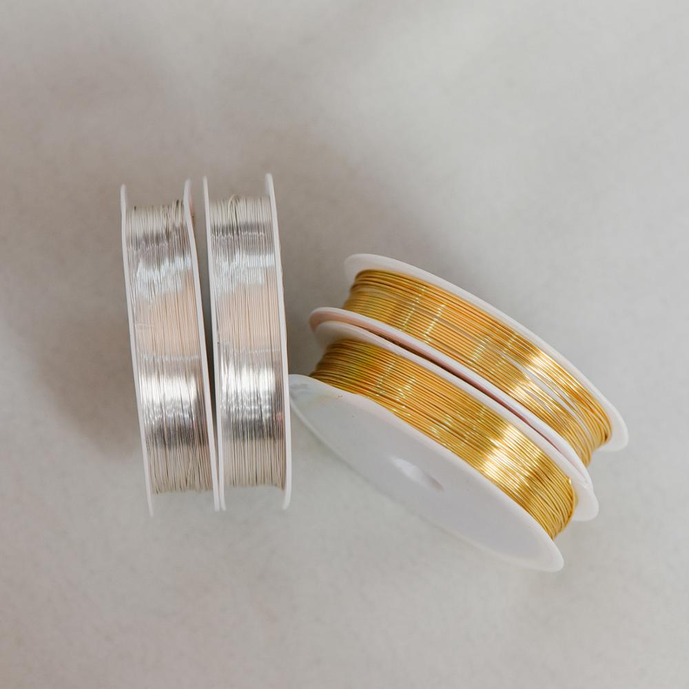 Gold/ Silver Plated Copper Wire, Non Tarnish Jewelry Crafting Wire Wrapping Supplies, 0.3mm-1mm (18-28 Gauge) (#GB-455)