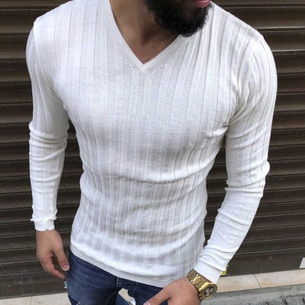 Ilkbahar sonbahar erkek Fit Slim düz renk üst kaburga V boyun uzun kollu t-shirt