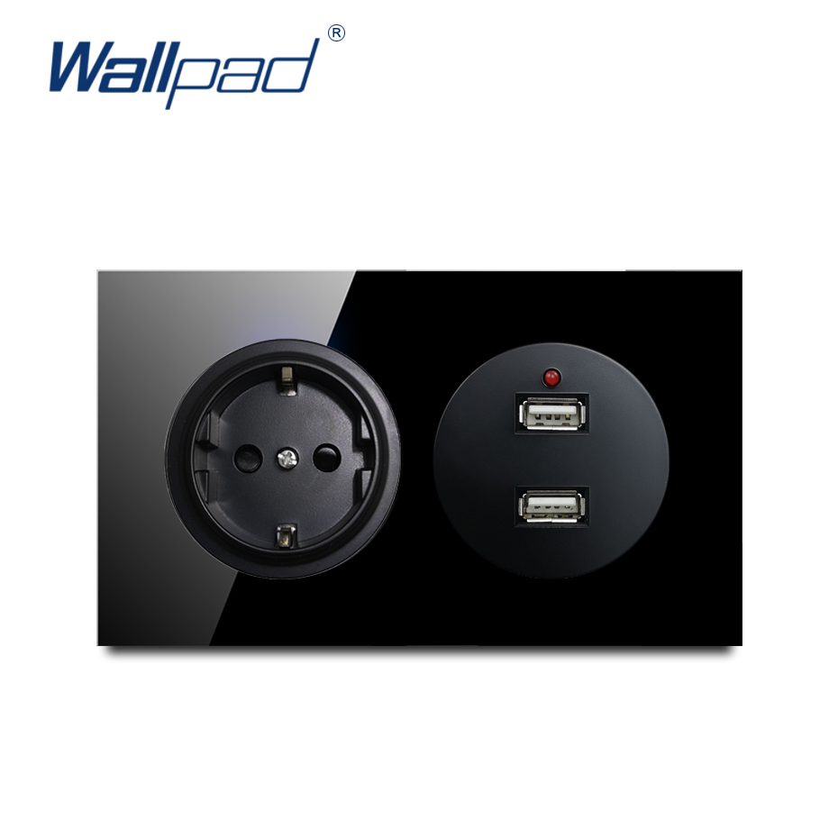 Wallpad EU German With 2 USB Charger 5V 2400MA Wall Power Socket Crystal Tempered Pure Black Glass Panel Outlet 146*86mm