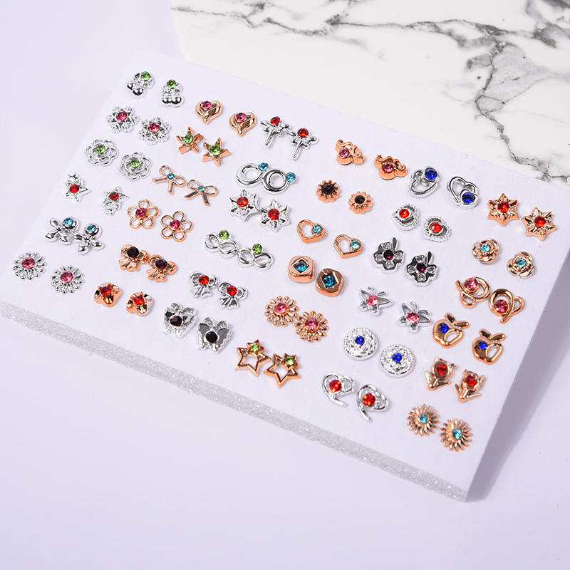 36pair/18Pairs Christmas Gold Silver Color Flower Stud Earring Set Cute Crystal Star Heart Earrings For Women Girl Kids Party