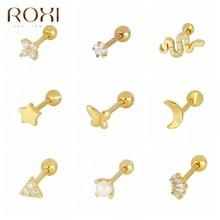 ROXI – boucles d'oreilles minimalistes pour femmes, piercing à géométrie, lune, serpent, papillon, argent Sterling 925, 925