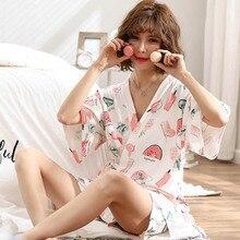 Damen Cartoon Druck Nachtwäsche Frauen Komfort Kimono Stil Weibliche Homewear Sommer Neue V ausschnitt Kurzarm + Shorts Casual Wear
