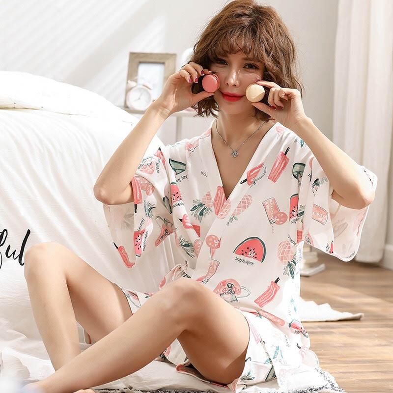 Ladies Cartoon Printing Sleepwear Women Comfort Kimono Style Female Homewear Summer New V-Neck Short Sleeve+Shorts Casual Wear