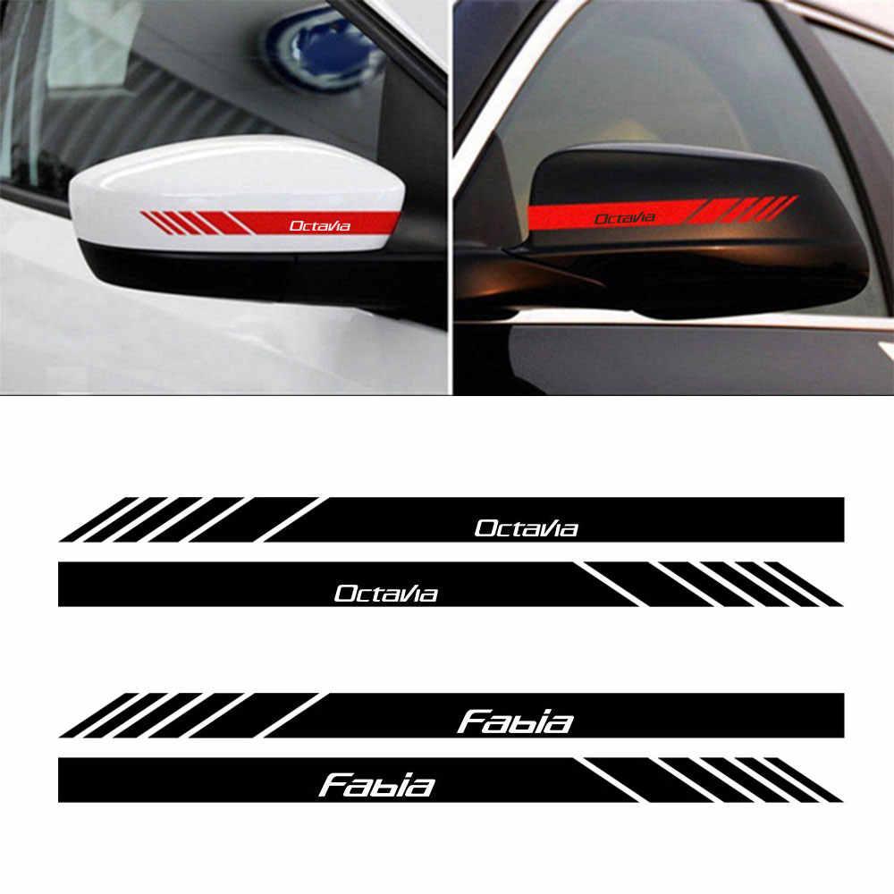 CAR DECAL STICKERS 95mm long FABIA OCTAVIA For SKODA 2 x Wing Mirror
