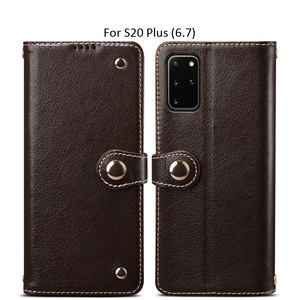 Image 2 - Metal Buckle Button Genuine Real cow Leather Flip Case For Samsung Galaxy S20 Ultra Book Wallet For S20 Plus