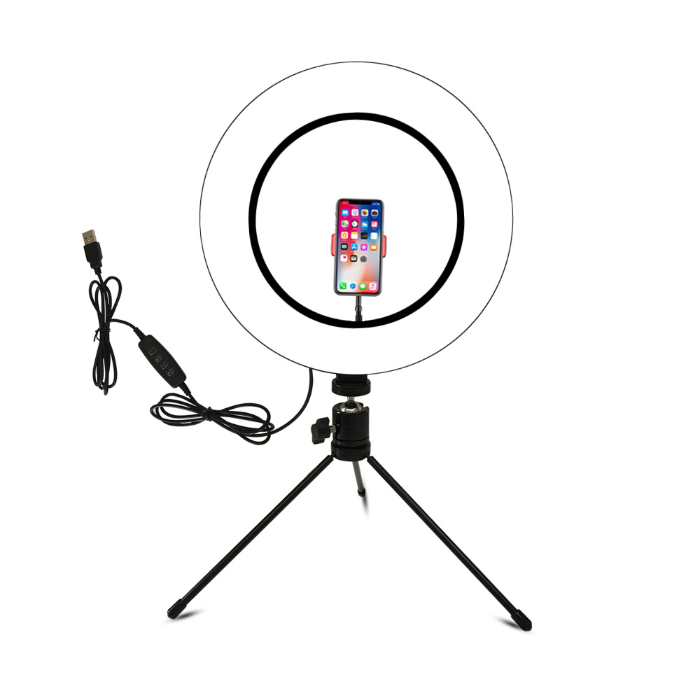 Video Light Dimmable LED Selfie Ring Light USB Ring Lamp Photography Light With Phone Holder Tripod Stand For MakeupYoutube
