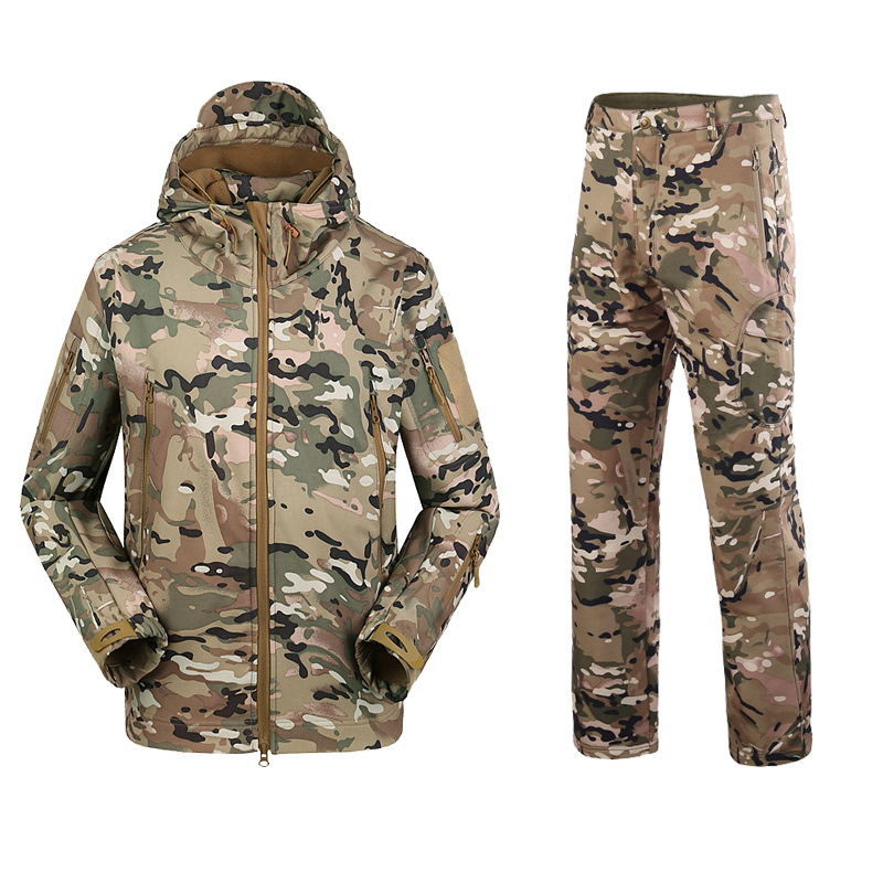 Camouflage Suit Shark Skin Outdoor Hunting Camping Waterproof Windproof Polyester Coats Jacket Hoody TAD Softshell Jacket+pants