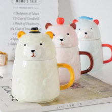 Creative Cute Cartoon Ceramic Mug Cup with Lid Drink Cup Breakfast Coffee Milk Cup b cartoon cute cup ceramic about 350ml mug breakfast coffee milk cup couple drinking cup creative student with cup handgrip mugs