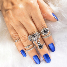 7 Pcs/Set Wish Hot Antique Silver Knuckle Rings Set Elephant Christmas Rings Set For Women Jewelry 2020 5 pcs faux gem elephant rings