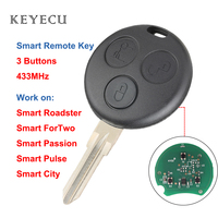 Keyecu 원격 자동차 키 Fob 3 버튼 433MHz Smart Fortwo Forfour Roadster City Passion 2000 2001 2002 2003 2004 2005