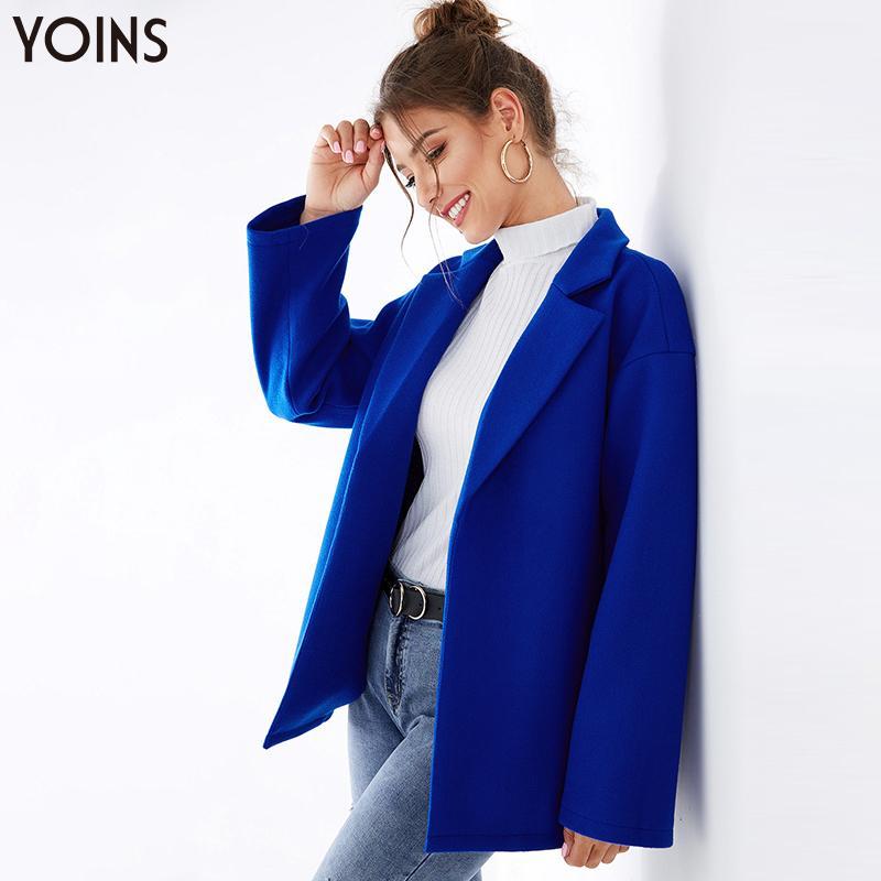 YOINS 2020 Autumn Winter Women Blazer Blue Notch Collar Open Front Long Sleeves Female Casual Loose Jackets Blazer Feminino Blue