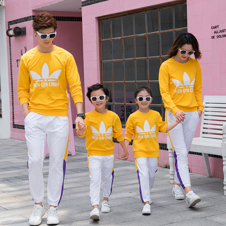 2019 Mother Daughter Outfits Cotton Round Neck Long Sleeve Sweatshirt Dad Mother And Son Family Casual Sports Suit Family Set