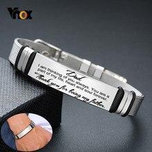 Vnox Mens In Acciaio Inox Personalizzato Incidere Tag ID Bracciali Papà Regalo di Lunghezza Regolabile con Maglia del Cinturino Da Polso Gioielli