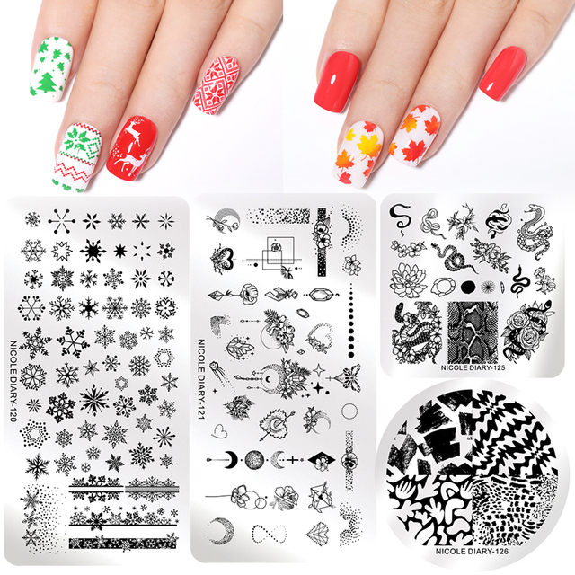 NICOLE DIARY Christmas Series Nail Stamping Plate Stamp Templates Rose Leaf Snake Image Printing Stencil Nail Art Tools