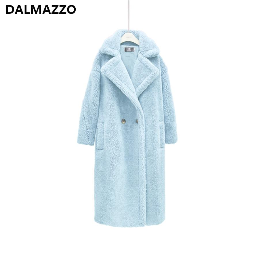 Teddy Bear Wool Women 2019 Newest Autumn Winter Trench Coat With Fur Cashmere Overcoat Warm Woolen Pocket Long Coats Female S-XL