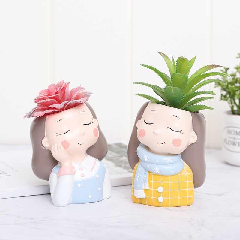 Succulent Tanaman Pot Gadis Lucu Mini Kaktus Pot Bunga Kreatif Desain Pekebun Kecil Bonsai untuk Dekorasi Taman Rumah