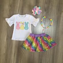 Frühjahr/Sommer Ostern outfit bunny kurzen ärmeln top pailletten rock baby kinder tragen boutique kleidung spiel zubehör knie länge