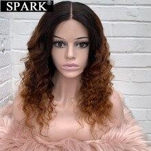 Peluca Frontal de encaje Spark 13x4 peluca suelta de ondas profundas Ombre peruano 100% pelucas de cabello humano de encaje Frontal Pre desplumado para mujeres negras Remy